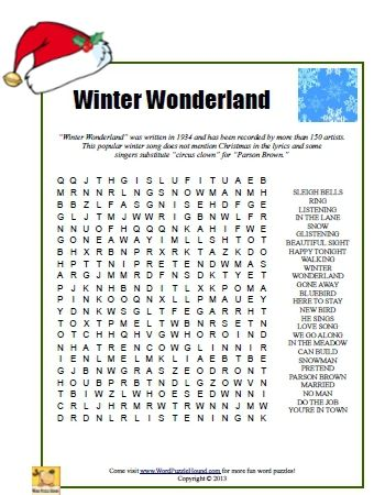 winter wonderland word search christmas printable puzzle - Holiday Printable Puzzles