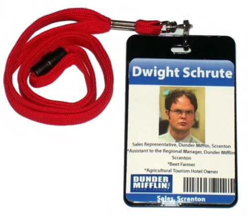 graphic relating to Dwight Schrute Id Badge Printable called Dwight Schrute The Workplace Dunder Mifflin Identification Badge Halloween