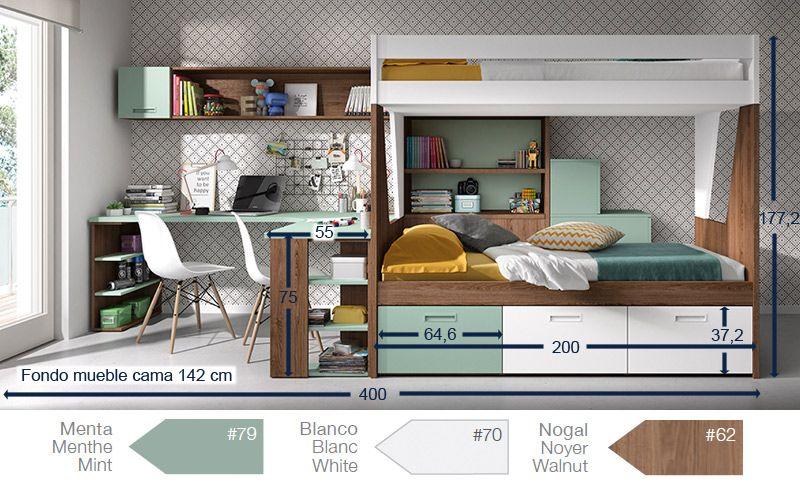Dormitorio juvenil con litera cajones contenedores - Fabricar cama abatible ...