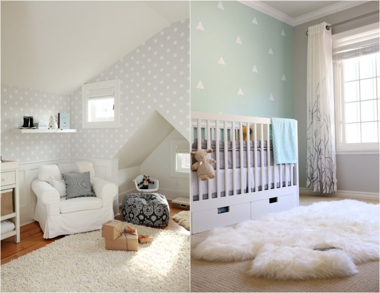 babyzimmer gestalten geschlechtsneutral dreiecke punkte muster - Babyzimmer Neutral Gestalten