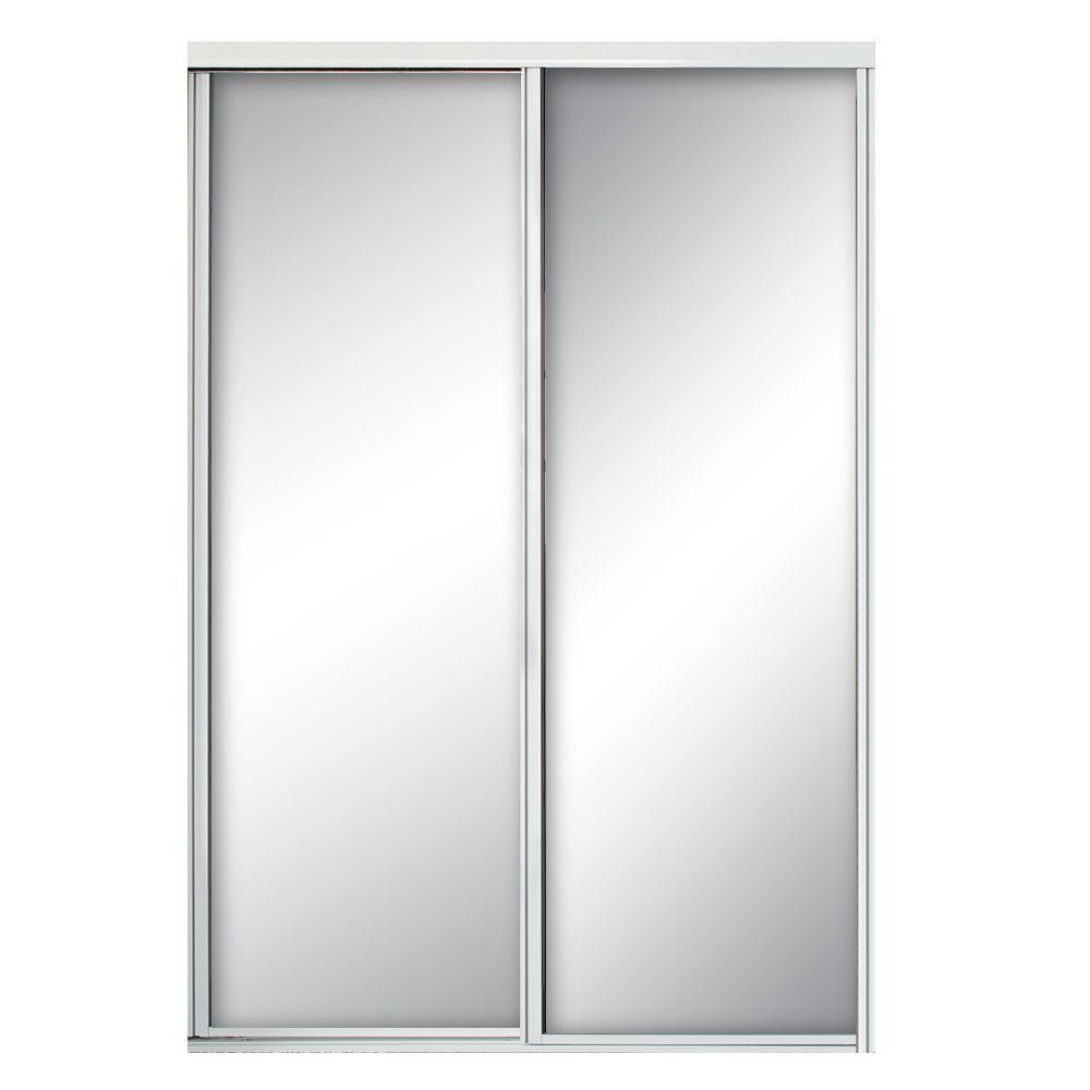 Contractors Wardrobe 72 In X 81 In Concord White Aluminum Frame Mirrored Interior Sliding Door Co In 2020 Sliding Doors Interior Contractors Wardrobe Sliding Doors