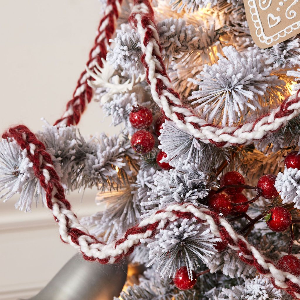 Crochet A Christmas Tree Garland With Loops Threads Cozy Wool Yarn Crochet Christmas Garland Christmas Tree Garland Diy Christmas Tree Garland