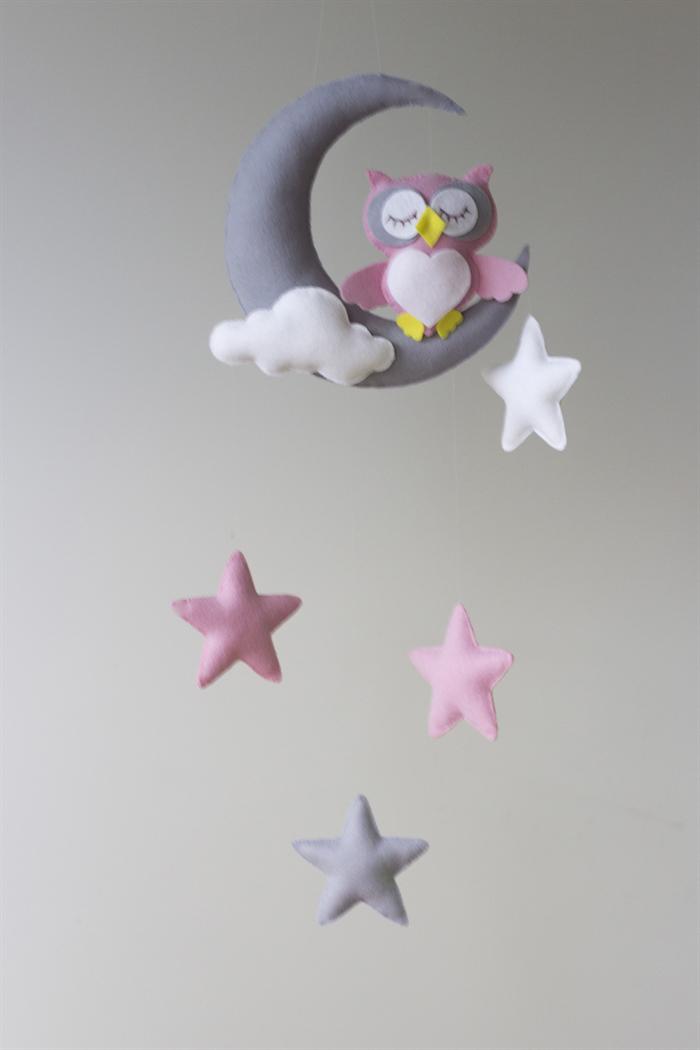 Pink Owl Moon Stars Baby Mobile Nursery Decor Merino Felt