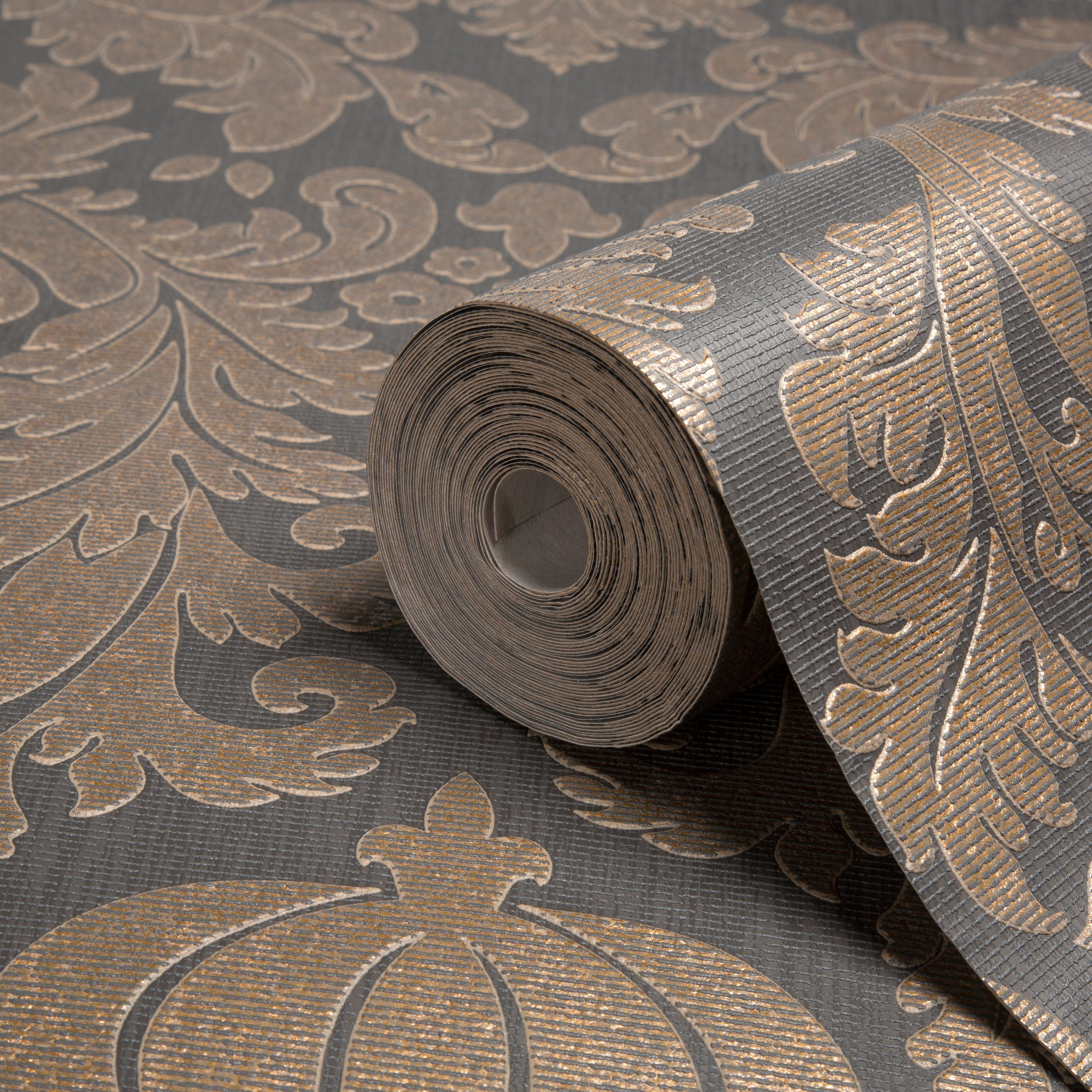 Diy supplies accessories diy at b q - Midas Black Copper Damask Wallpaper B Q For All Your Home And Garden Supplies And Advice On All The Latest Diy Trends