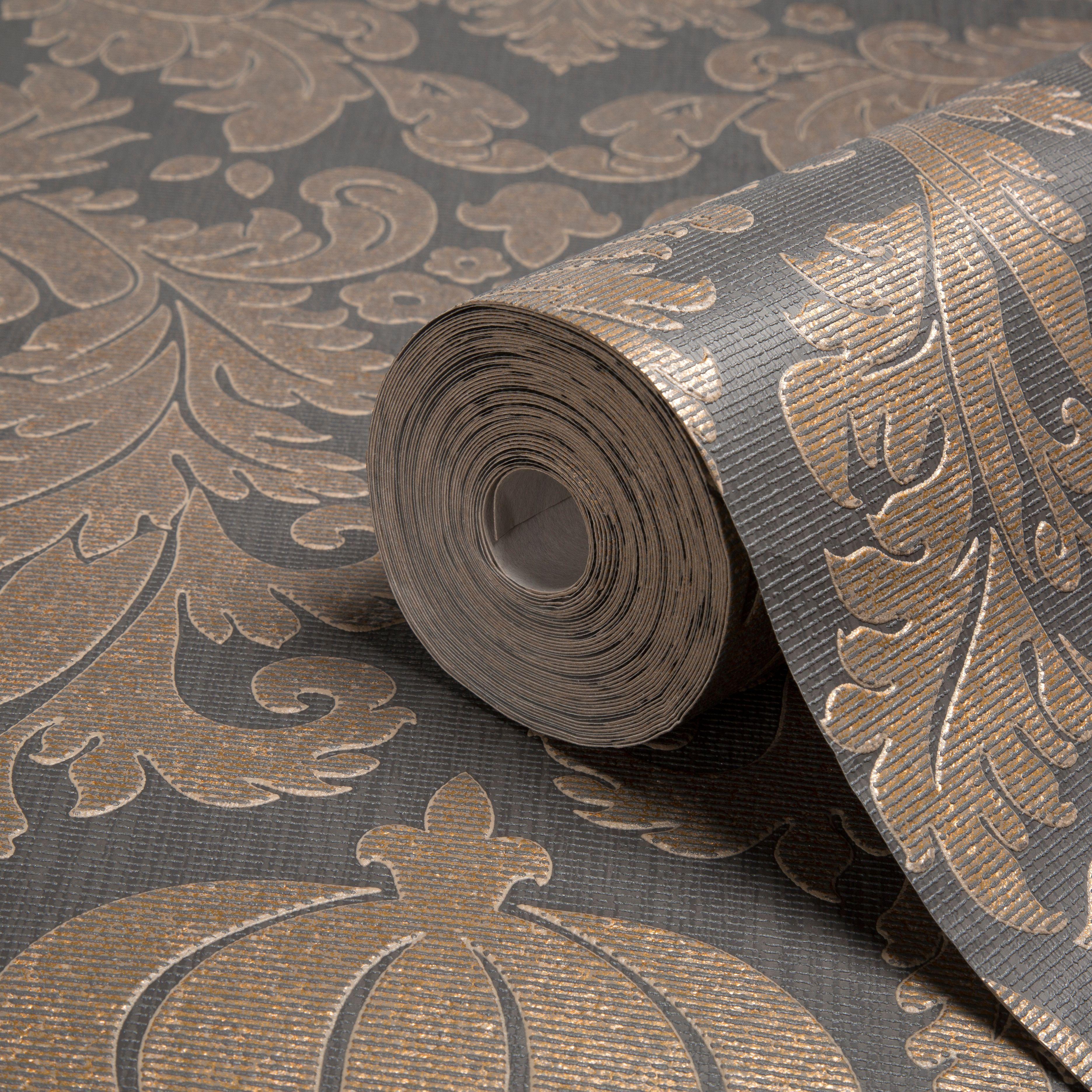 Midas Black Copper Wallpaper Departments Diy At B Q Copper Wallpaper Damask Wallpaper Diy Wallpaper
