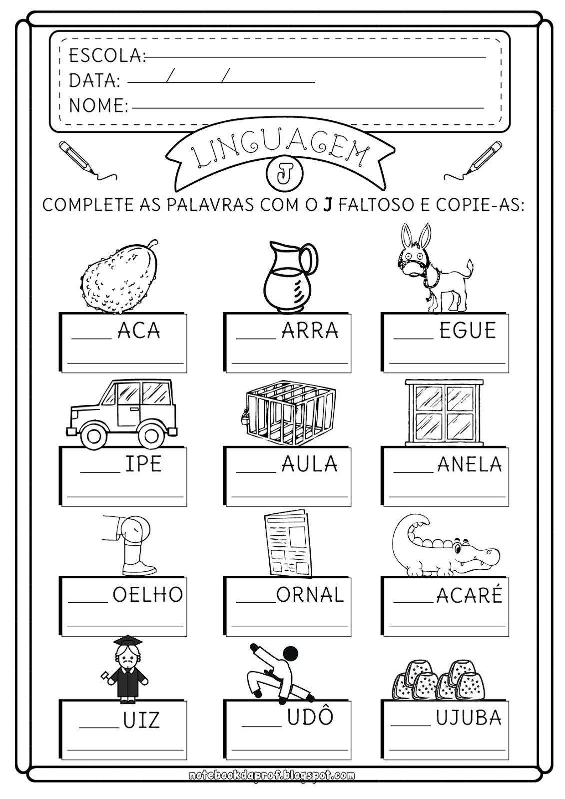 Suficiente Atividades letra J | Atividades escolares, Atividades e Professores IR05