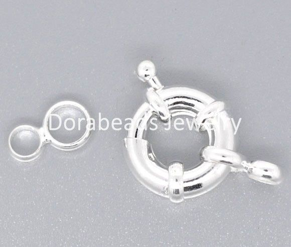 Free Shipping! 10 Silver Plated Spring Clasps W/Attachment Rings 15mm (B08400) US $3.53