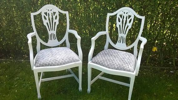 Pair of Grey Statement Shabby Chic Wooden Chairs