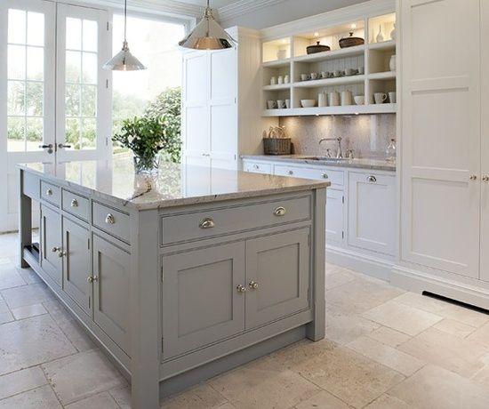 20 Gorgeous Gray And White Kitchens Grey Kitchen Island Kitchen Inspirations Gray And White Kitchen