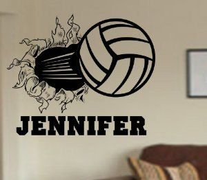 Volleyball Bursting Through Wall Vinyl Wall By Perfectpeacocks 24 00 Vinyl Wall Decals Wall Decal Sticker Sports Wall Decals