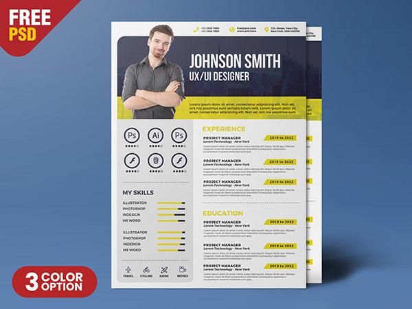 Creative Resume Template PSD Creative resume templates