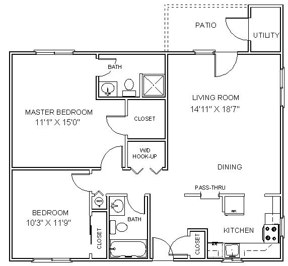 2 Bedroom Small Apartment Layout