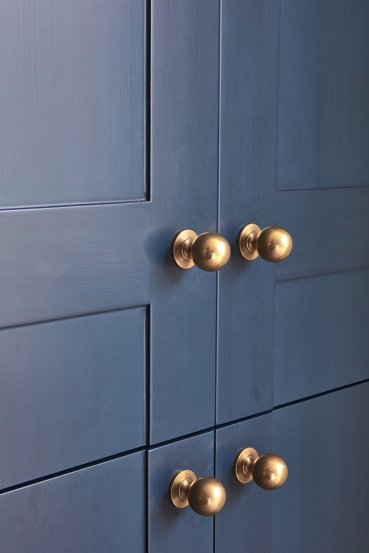 Dark Blue Kitchen Cabinets With Brass Hardware