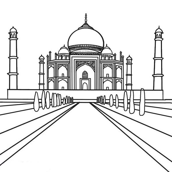 Southern View Of The Taj Mahal Coloring Page Netart Taj Mahal Drawing Taj Mahal Sketch Taj Mahal