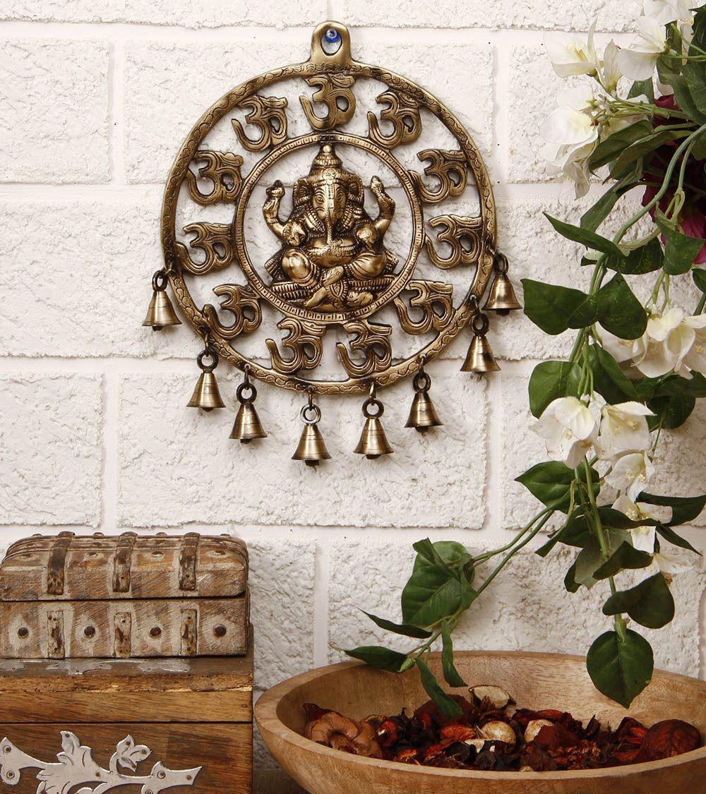 Brass Om Ganesha Wall Hanging With Bells Indian Interior Design Decor Indian Decor