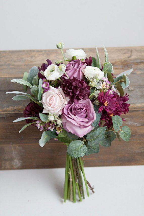 Plum Wedding Bouquet, Silk Bridal Bouquet, Lavender Ivory Bouquet, Pink Bouquet,…