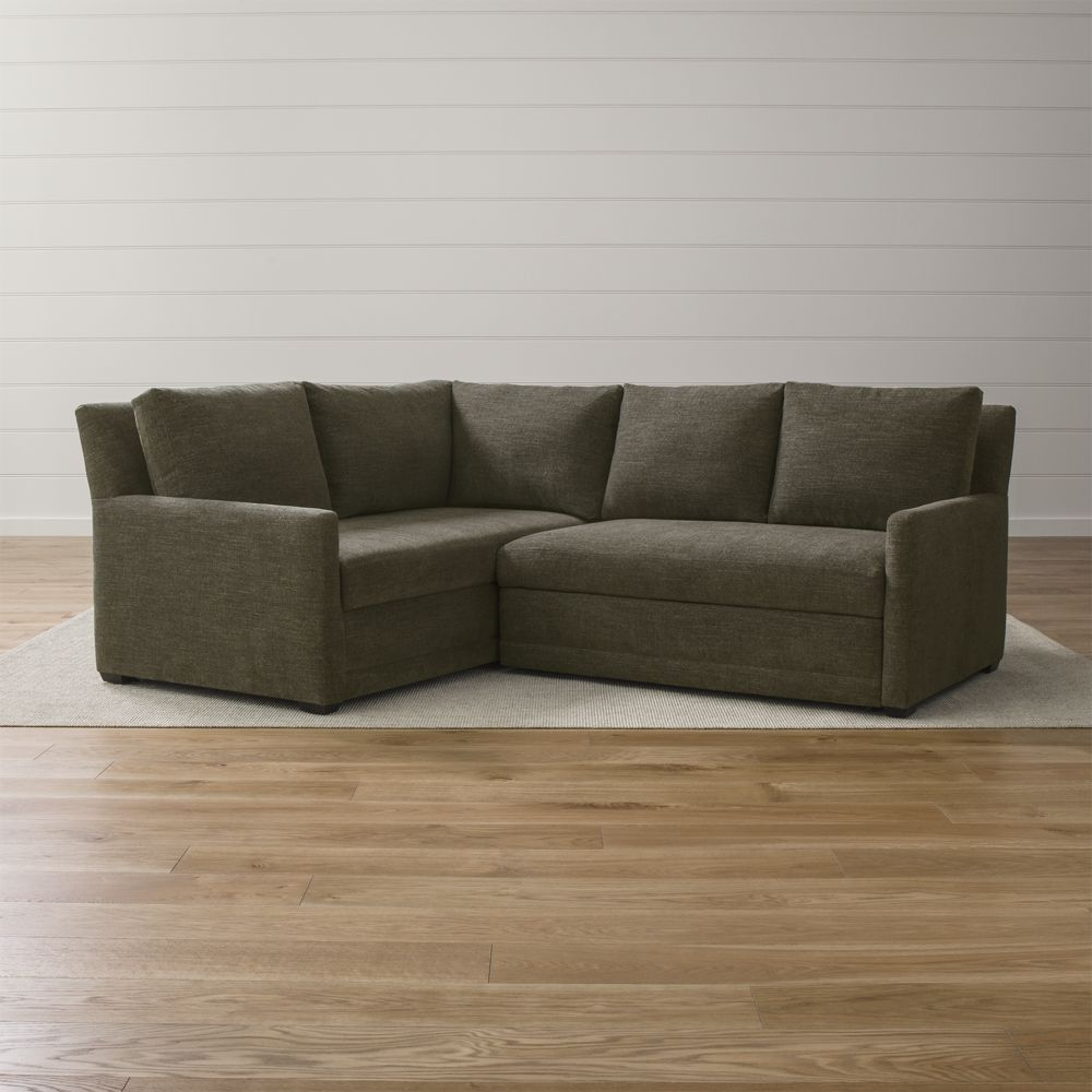 Reston 2 piece left arm corner trundle sleeper sectional sofa