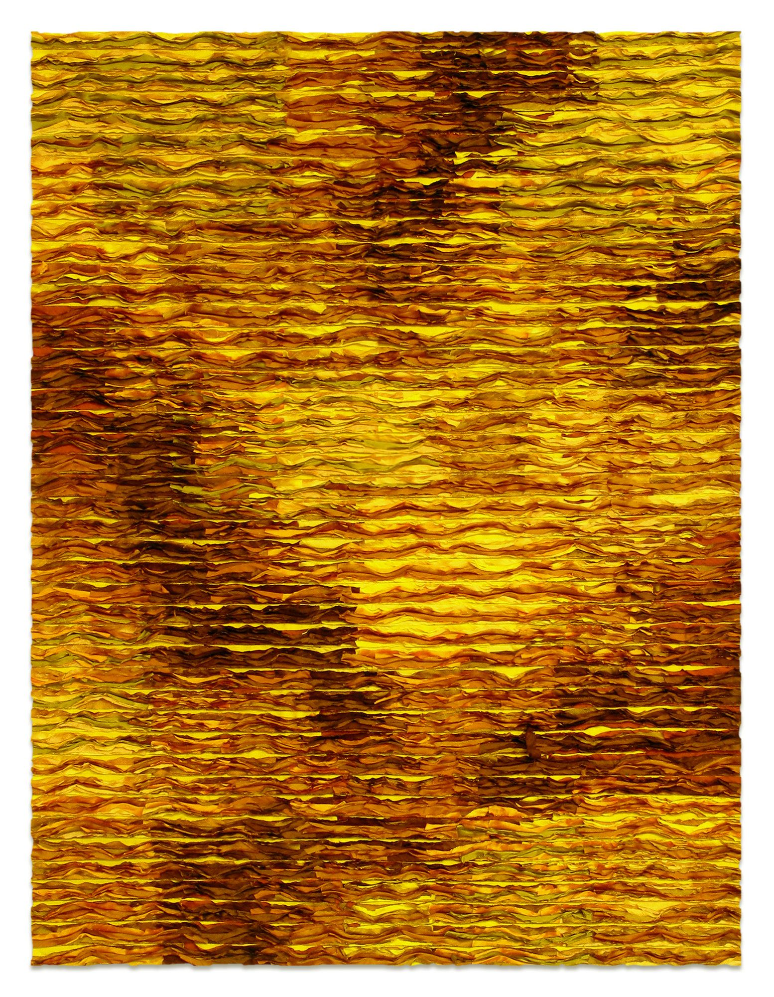Ochre by Tim Harding. Richly textured fiber wall piece made in a collage-layered, reverse applique technique of iridescent, lustrous, hand-loomed Indian silks on a two-ply cotton duck backing. Signed on reverse at bottom. Installation materials included.