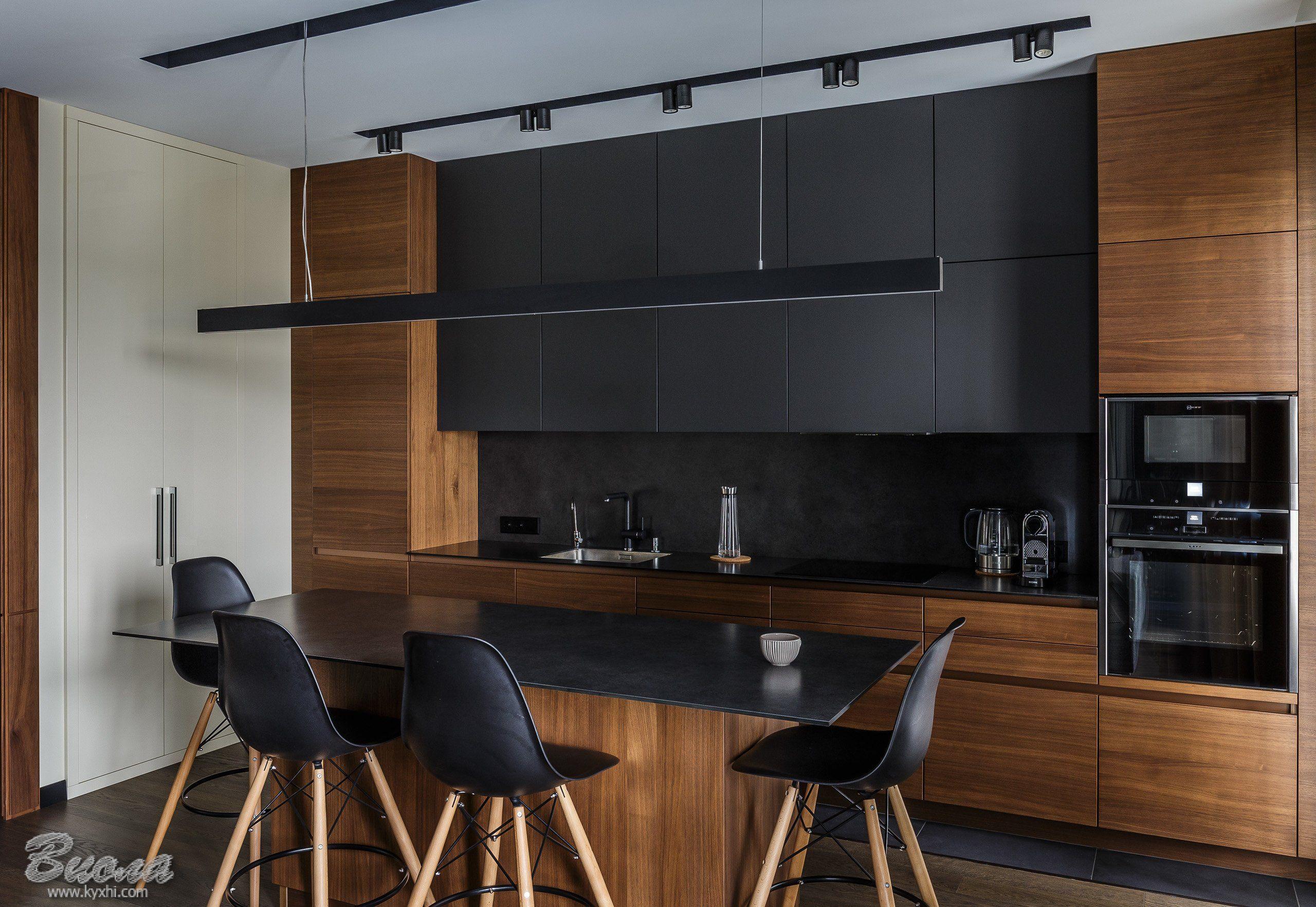 Интерьер кухни в стиле лофт под заказ | Интерьер, Кухня черного ...
