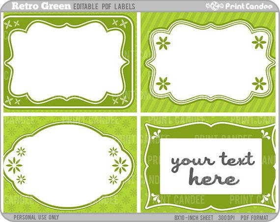 Rectangle - Editable PDF (8x10) Retro Green Labels (No. 220 ...