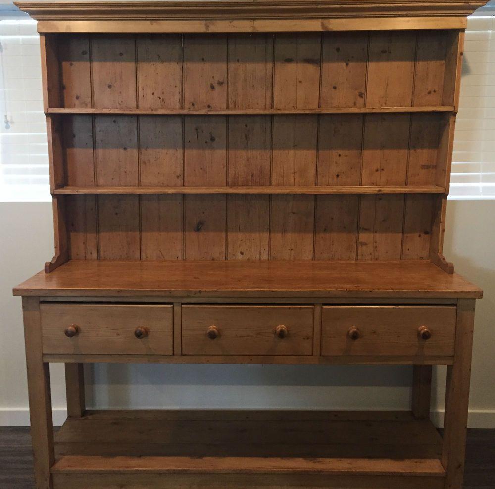 Large Antique Pine English Pot Board Dresser Cupboard Kitchen Hutch Cabinet Hutch Cabinet