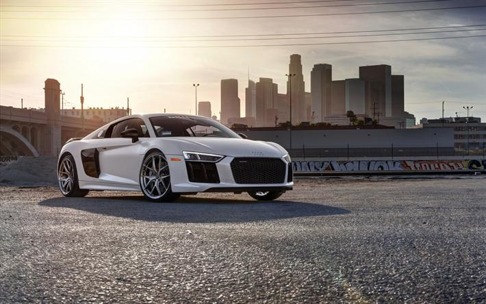 Download Wallpapers Audi R8 V10 Plus 2018 White Sports Car