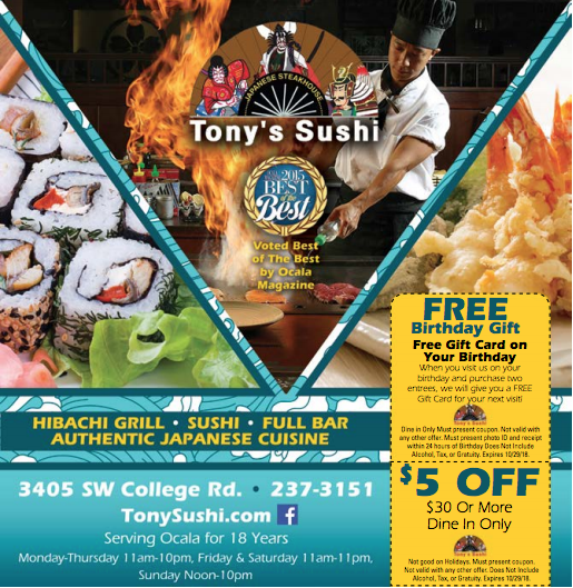 Tony S Sushi Restaurant Deals Free Birthday Stuff Sushi