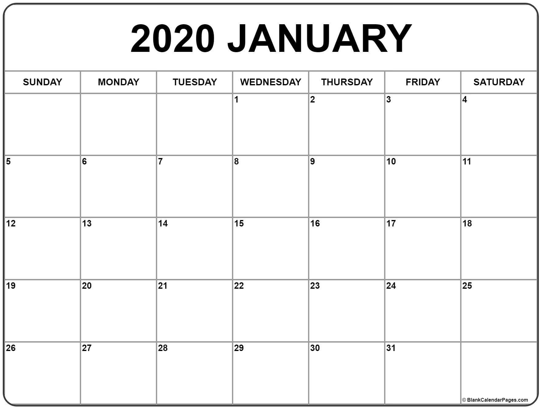 Full calendar print view in 2020 monthly calendar