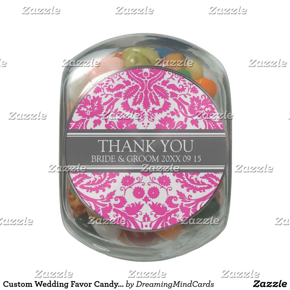 Custom Wedding Favor Candy Jar Fuchsia Damask Jelly Belly Candy Jar ...