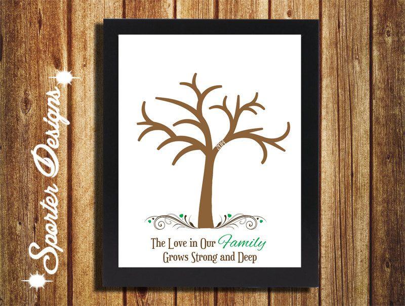 family tree handprint gift wall art diy digital custom church