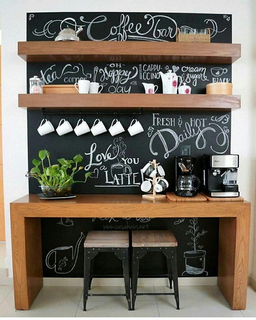 un coffee corner dans la cuisine  Coin café cuisine, Bar cuisine