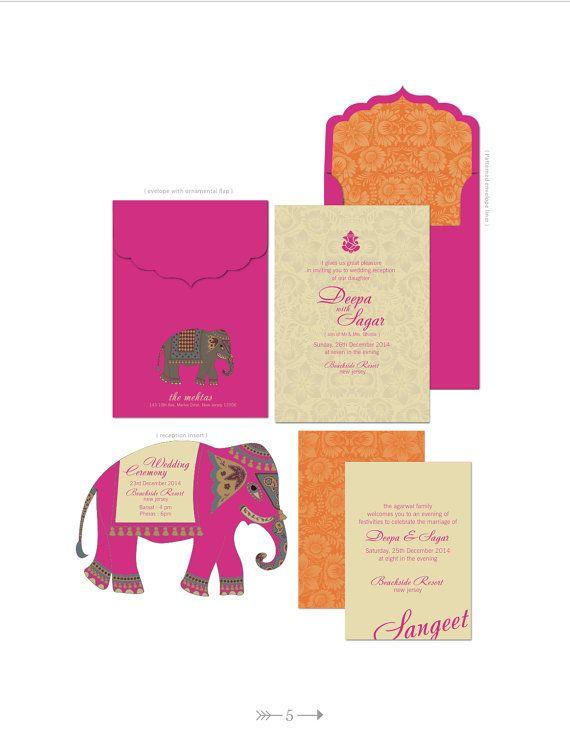 INDIAN SUMMER WEDDING Invitations Bright Fuschia by ArtsyDesignCo - fresh wedding invitation card on whatsapp