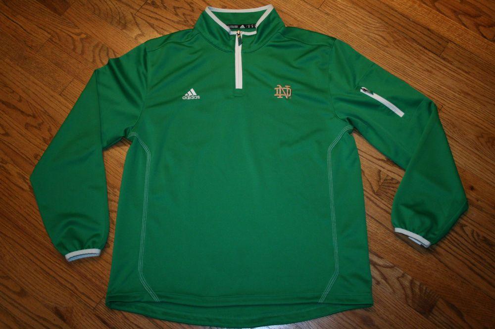 Notre Dame Irisches grünes Adidas Climalite Half Zip Pullover Shirt Top