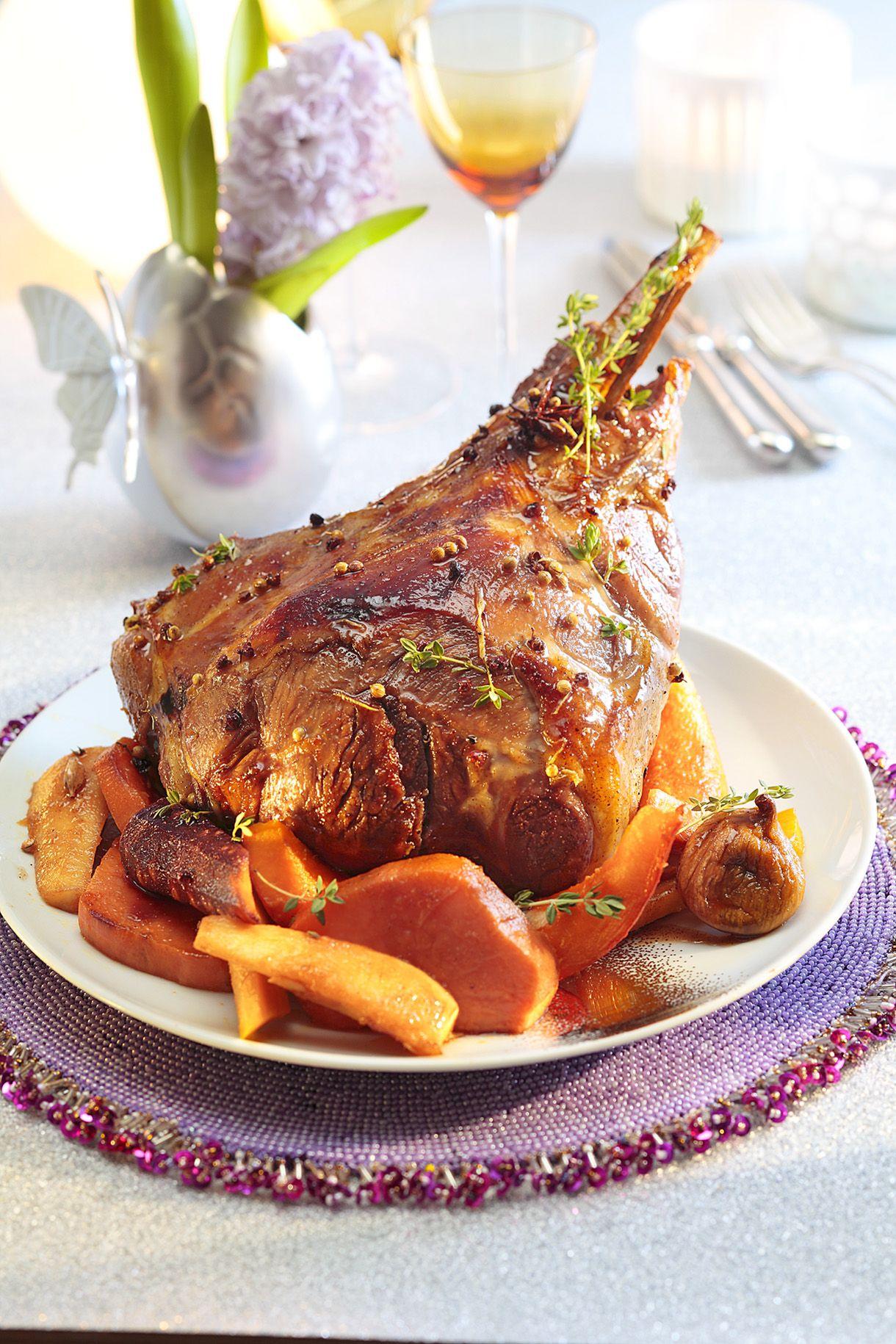 Gigot de f te aux pices et au miel recette recette - Sauce pour gigot d agneau au four ...