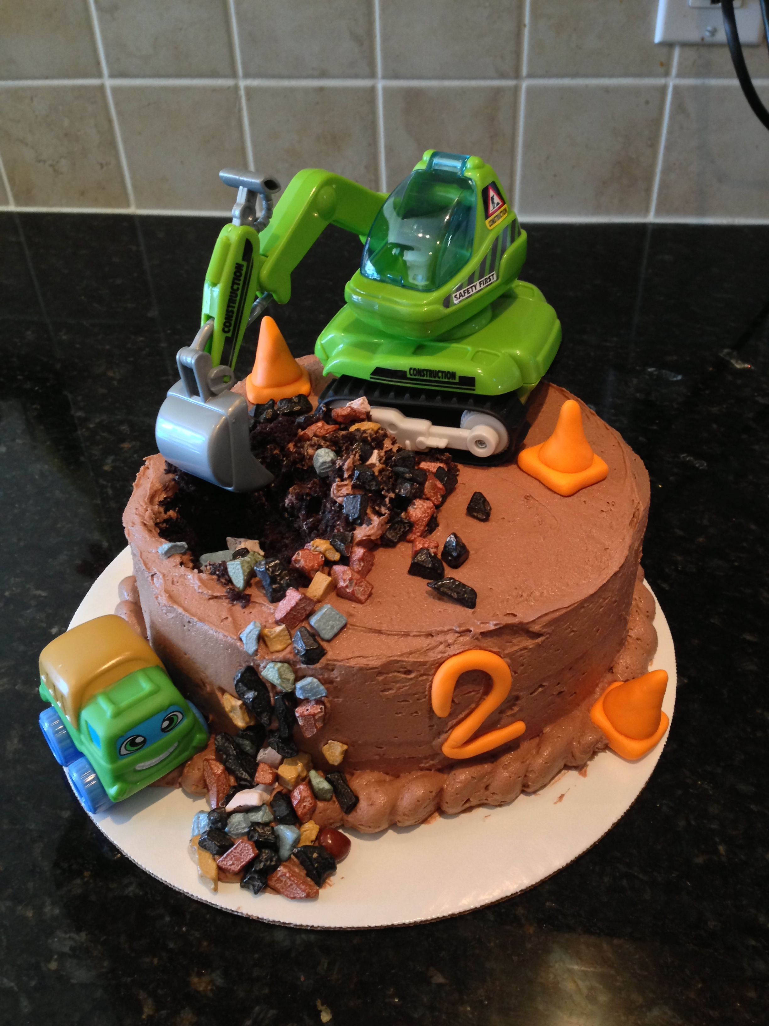 Construction Truck Cake For 2 Year Old Boy Themed Party Chocolate With Buttercream Icing Pebbles