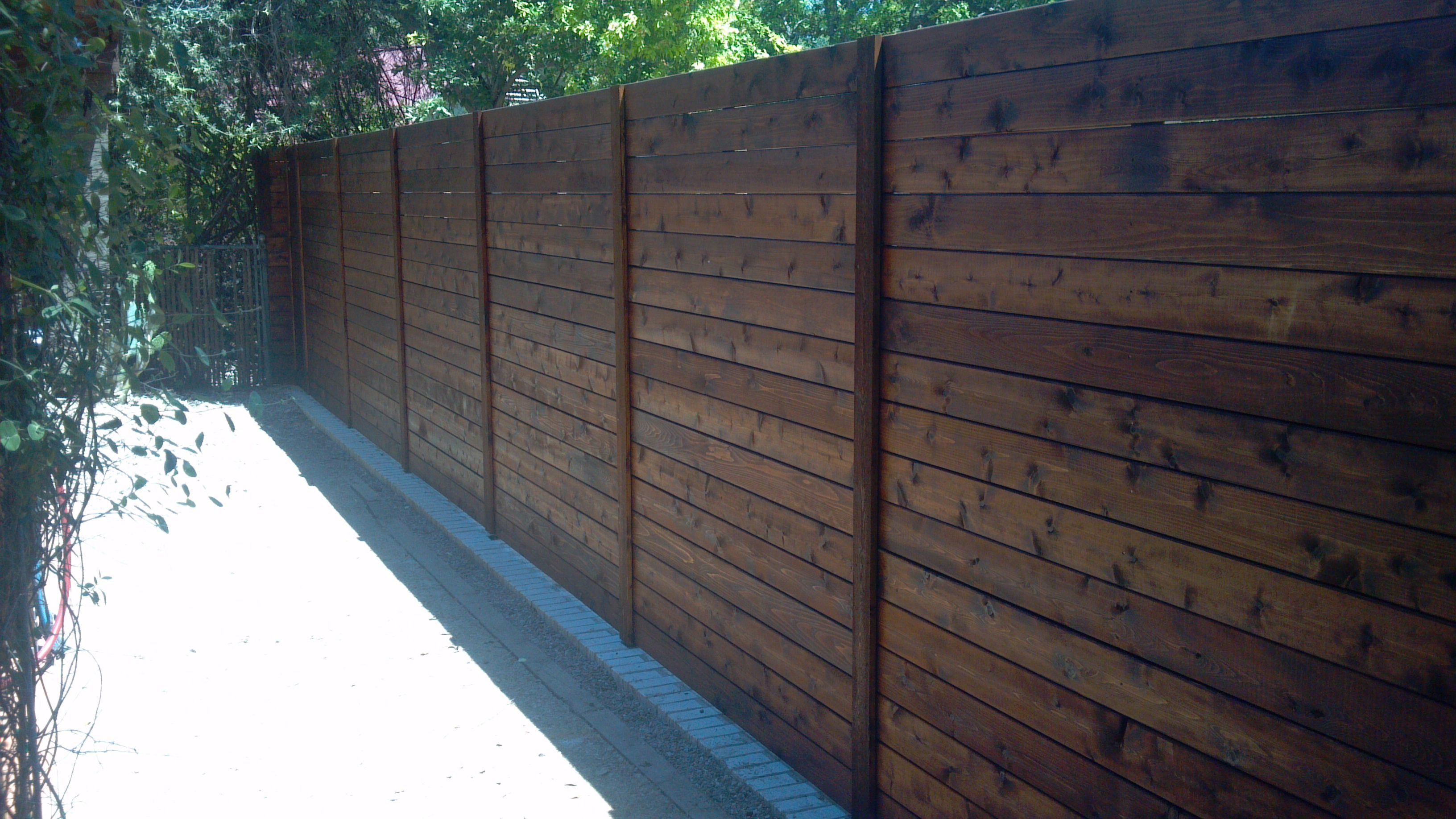 Wood Fences Gallery Viking Fence Horizontal Full Privacy Stained With Dark Walnut Ready Seal Stain Fence Design Privacy Fence Designs Diy Privacy Fence