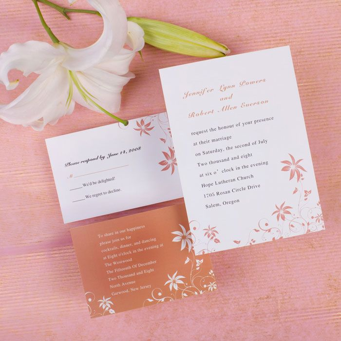 Cheap Unique Wedding Invitations: Custom Simple Peach Rustic Country Inexpensive Wedding