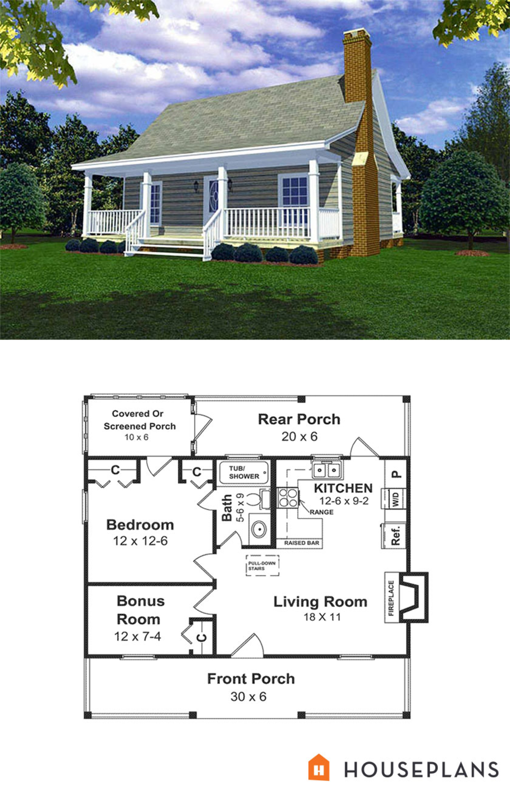 Cabin Style House Plan - 1 Beds 1 Baths 600 Sq/Ft Plan #21-108 ...