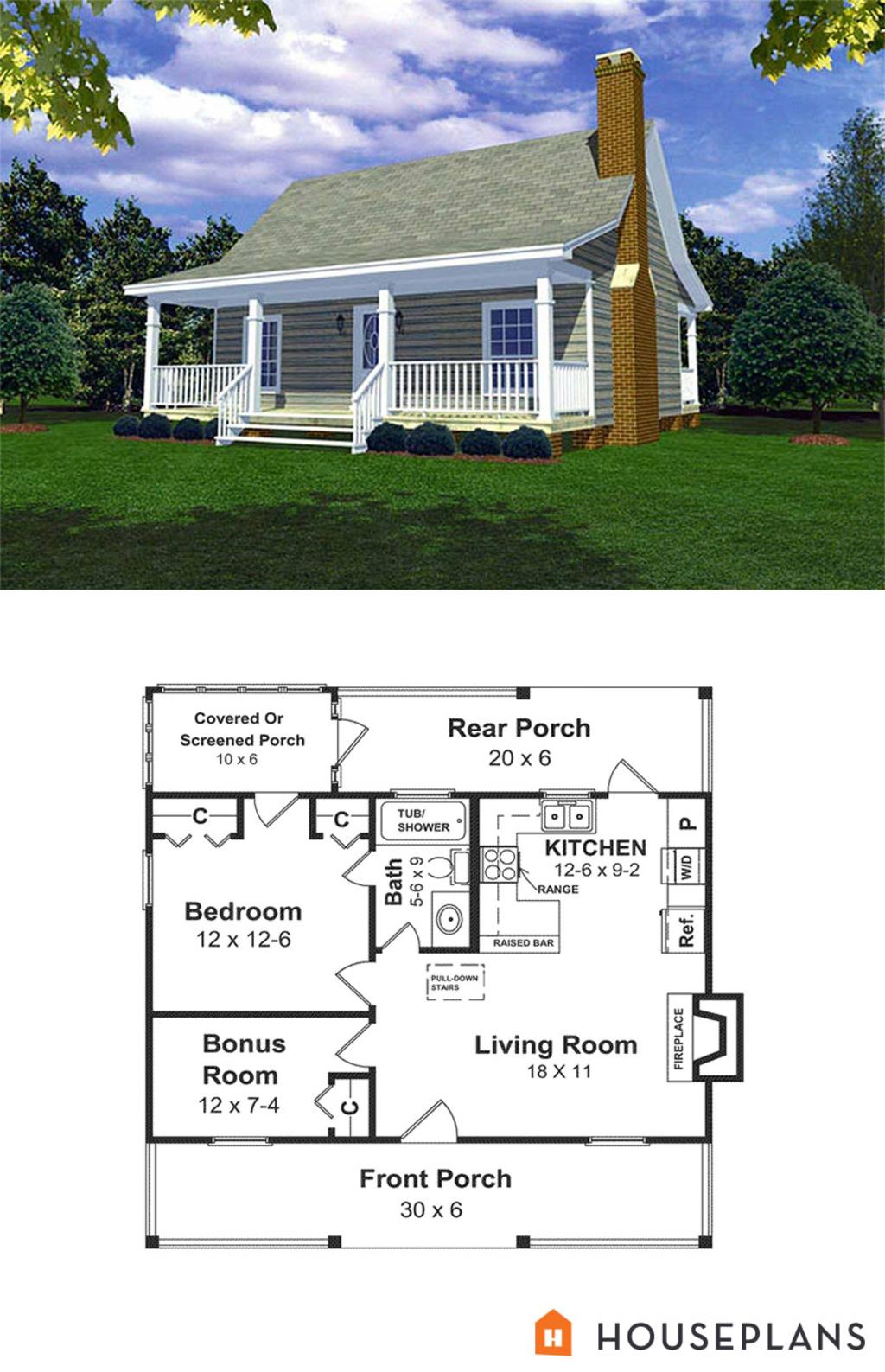 Cabin Style House Plan  1 Beds 1 Baths 600 SqFt Plan 21