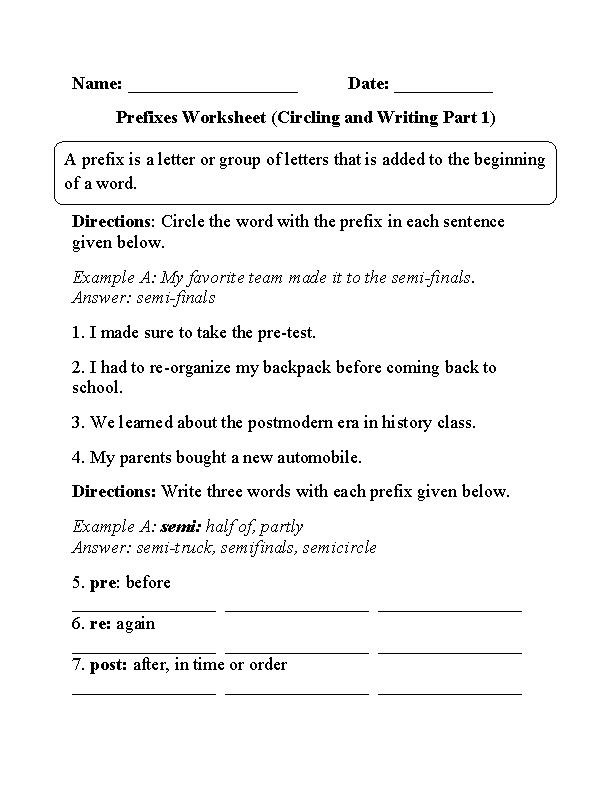 Circling And Writing Prefixes Worksheet Education Pinterest