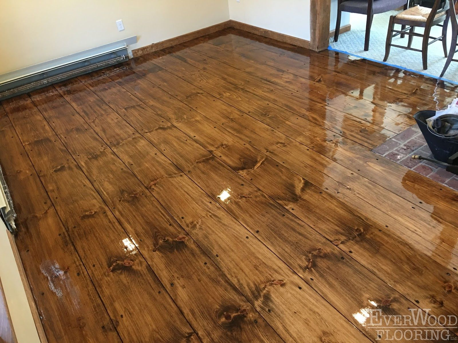 This Project Is So Much More Than A Refinish Because The Original Floor Was An Orange Colored Pine With A Lot Of Wear And Tear Plank Holzfussboden Haus Design
