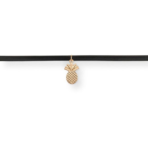 Aeropostale Pineapple Choker Short-Strand Necklace (185 MXN) ❤ liked on Polyvore featuring jewelry, necklaces, black, pineapple charm, pineapple necklace, aéropostale, strand necklace and vegan jewelry