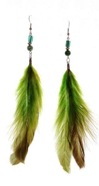 04550850317c Aretes de plumas verde claro