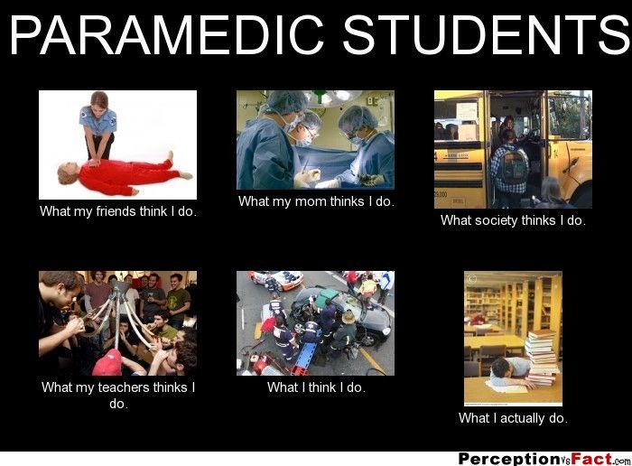 Paramedic Students What People Think I Do What I Really Do