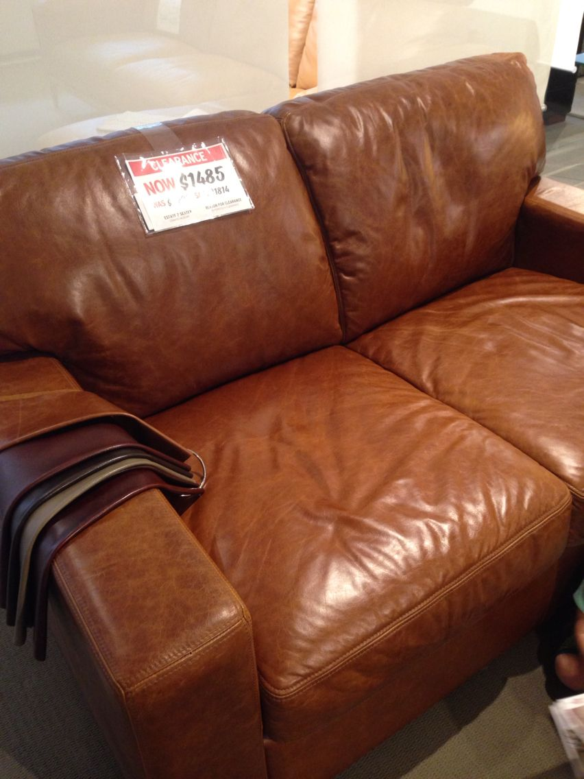 - Plush Couch In Hickory Tan Leather Plush Couch, Couch, Tan Leather