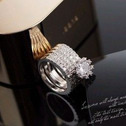 New Alloy Austria Crystal Stack Ring for Women in Silver