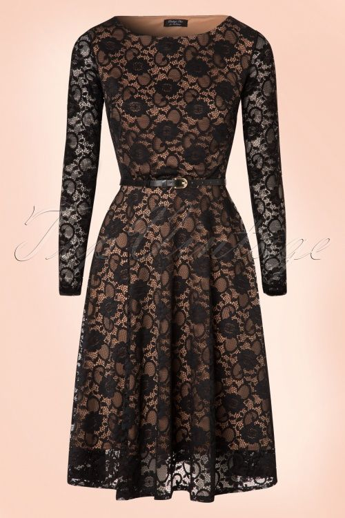 Vintage Chic ~ 50s Sylvia Lace Swing Dress in Black