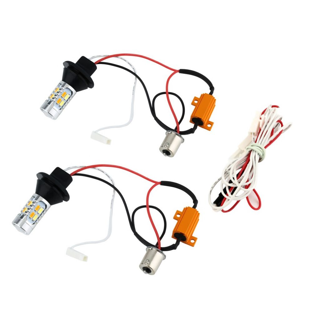 2pcs 1156 Dual Color Switchback Led Turn Signal Light With Drl Switch Back Wiring Function Kit Hot Selling