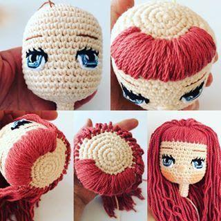 Tutorial cabelo cacheado para boneca de crochê | Bonecas de crochê ... | 320x320