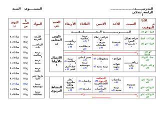 Download استعمال الزمن الأسبوعي للسنة الرابعة ابتدائي Doc Education Periodic Table